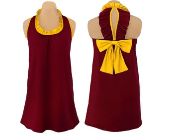 Deep Red + Yellow Back Bow Dress