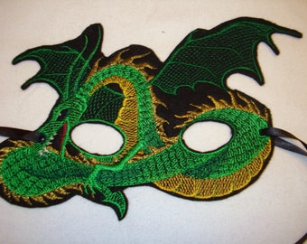 Green and Gold Dragon Mask on Felt