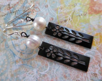 Freshwater Pearl and Sterling Silver Earrings with Cut-out Flower Design