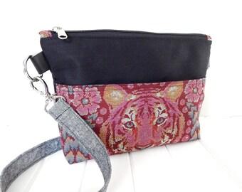 ON SALE Fabric Handbag, Cross Body Bag, Handmade Bag, Sling Bag, Tula Pink Fabric Bag, Handmade Fabric Bag, Zippered Handbag
