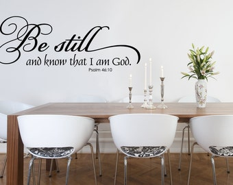 Christian Wall Decal - Family Wall Decal - Scripture Wall Decal - Bible Verse Wall Decal - Be Still and know I am God - Inspirational Decal