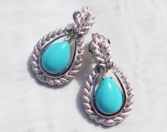 1970's VINTAGE Signed AVON Faux Turquoise Cabochon and Silver Tone Rope Teardrop Clip Earrings