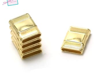 1 magnetic clasps 25 x 18 x 6 mm, 022, Golden leather and cord