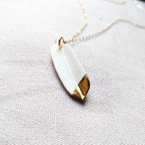 Porcelain Feather Necklace gold dipped feather white