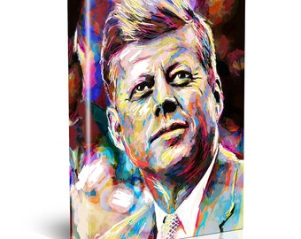 John F Kennedy Canvas Art, JFK Canvas, President painting