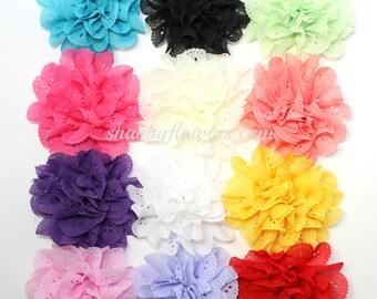 Pack of 12 Eyelet flowers, DIY wholesale headband supplies - pack of 12