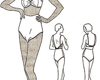 Vintage 1930s Ladies Bra High Waist Panties Underwear Drawers Sewing Pattern 119 B32