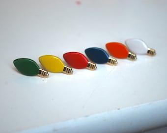 Light Bulb Earrings -- Color Light Bulb Earrings, Christmas Light Earrings, Pick your favorite color!