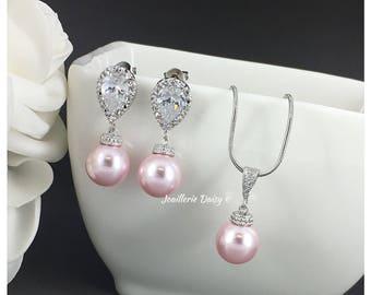 Bridesmaid Gift Jewelry Set Swarovski Jewelry Pearl Necklace Earring Bridesmaid Jewelry Maid of Honor Gift Blush Wedding Gift for Moms