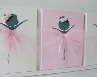 Ballerina nursery wall art in white, pink and grey.