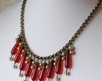 Vintage Czech Teardrop Necklace, Japanese Glass Pearls, Bib Necklace, Statement Necklace