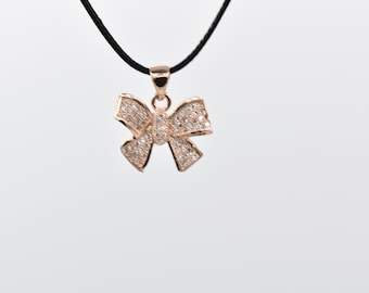 1pcs-5pcs Rose Gold Plated Bow Pendant with White Rhinestones