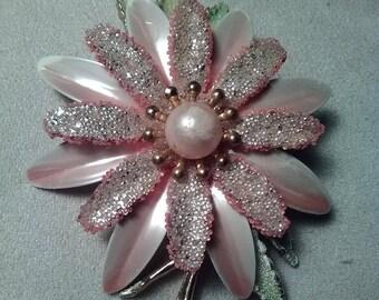 Pink Flower Enameled Brooch