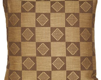 Taupe Squares Cushion Cover Woven Fabric Marvic Textile Square 16""