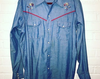 Vintages 70's Western Wear Shirt / size XL / by Buffalo Bill