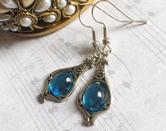 Blue Stone Earrings, Blue Earrings, Blue Stone Jewelry, Stone Earrings, Blue Jewelry, Aqua Earrings, Blue Drop Earrings, Mothers Day Gift
