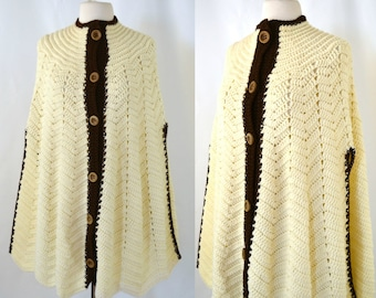 1970s Ivory and Brown Knit Poncho Cape, Boho, Hippie, Hipster