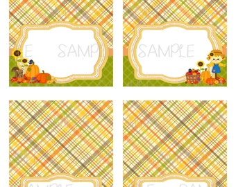 Printable Fall Birthday Food Tent Cards