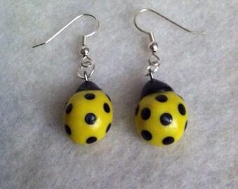 Polymer Clay Ladybug Earrings, Yellow, Black Dots, Dangle, Bug, Insect, CUTE, KAWAII