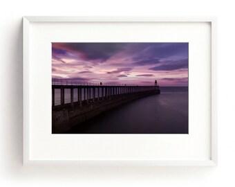 Large Wall Art Print, Coastal Wall Art, Beach House Decor, Sea Print, Seascape, Coastal Decor, Pink Wall Art, Sunset Art, Whitby Harbour