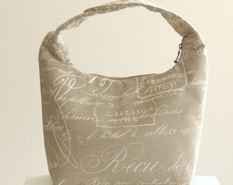 Lunch Bag, Fabric Lunch Tote, Insulated Lunch Bag, Lunch Bag for Women, Work Lunch Bag, Fabric Bento Bag, Cursive Lettering Warm Gray