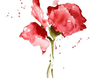 SALE items on Select Prints, After Christmas Sale, Red Art Watercolor Painting PRINT, Flower Artwork,Wall Art,8x10,Flower Watercolor Floral