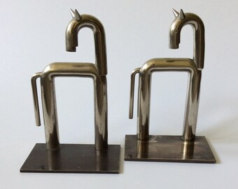 RARE Art Deco/Machine Age Walter Von Nessen Horse Bookends for Chase in Satin Nickel, c. 1930