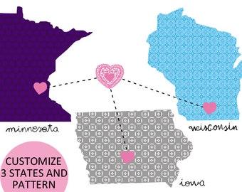 Minnesota Iowa Wisconsin / Map custom States that you want.