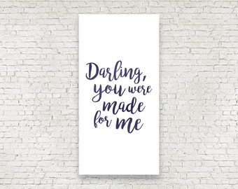 Darling You Were Made For Me Handwritten style wedding ceremony backdrop for your altar with vows, love poems and love songs