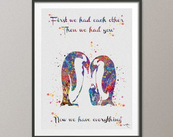 Penguin Family Quote Watercolor Art Print Wedding Gift Nursery Wall Art Giclee Wall Decor Art Home Decor Wall Hanging Baby Shower  [NO 663]