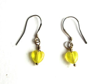 Little hearts,earrings, yellow, sterling silver,925,vintage,hand made