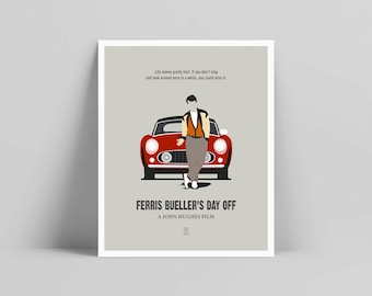 Ferris Bueller - Minimalist Poster, Ferris Poster, Minimalist Print, Matthew Broderick, John Hughes, The Breakfast Club, Sixteen Candles
