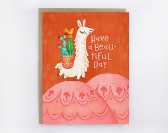 Leaping Llama - Greeting Card