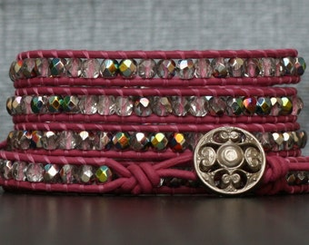 READY TO SHIP wrap bracelet bright pink leather with iridescent crystal