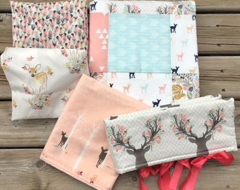 Nursery Crib Bedding, Bed Set, Baby Fawn Bedding, Crib set