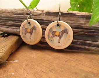 Bohemian boho circus earrings in wood with a zebra pattern