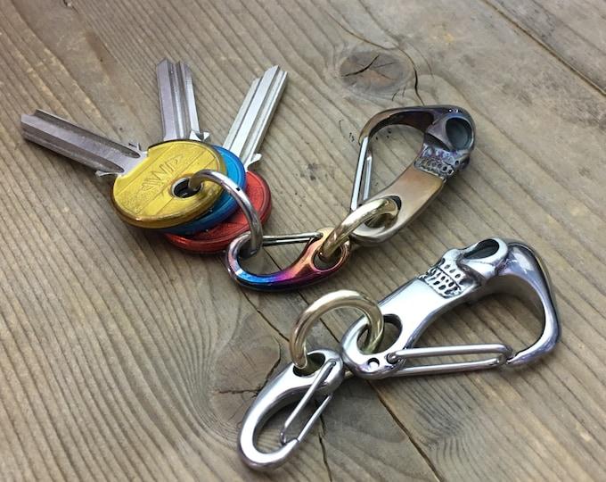 Skull Custom Keychain, Bi-Carabiners / Stainles Steels