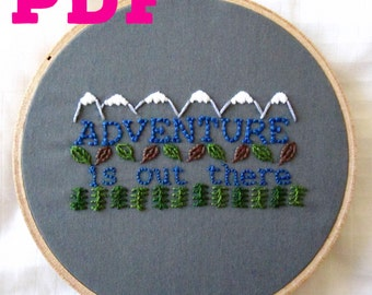 Adventure Is Out There PDF Embroidery Pattern + Foster Care Initiative Donation! DIY Hoop Art Pattern