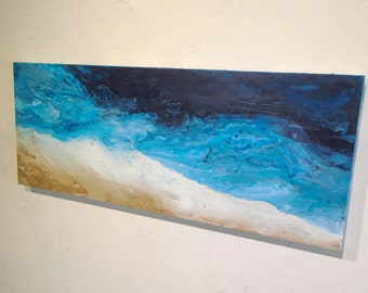 """Textured Fluid Acrylic Wall Art Original Contemporary Abstract Beach Painting """" PIER 60 """"  Ships Free within the USA"""