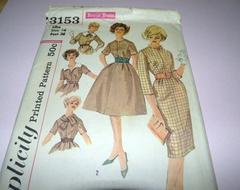 1959 Simplicity 3153 Fitted Waist dress pattern Bust 36 size 16 Uncut and Complete