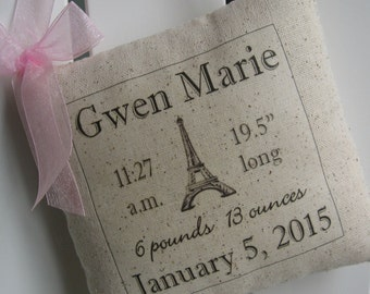 Birth Announcement Pillow, French Baby Gift, Eiffel Tower, Paris, Nursery, New Baby, Personalized Kids Sign, Newborn, Custom Baby Name, Blue