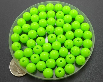 100 Neon Green Acrylic Beads 8MM (H2013)