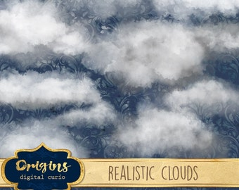 Realistic Clouds Clipart, photoshop cloud overlays, png clip art real cloud, watercolor rain cloud weather digital instant download