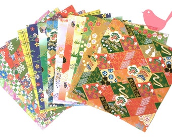 Japanese rice and origami paper ephemera, paper with beautiful golden print set 1