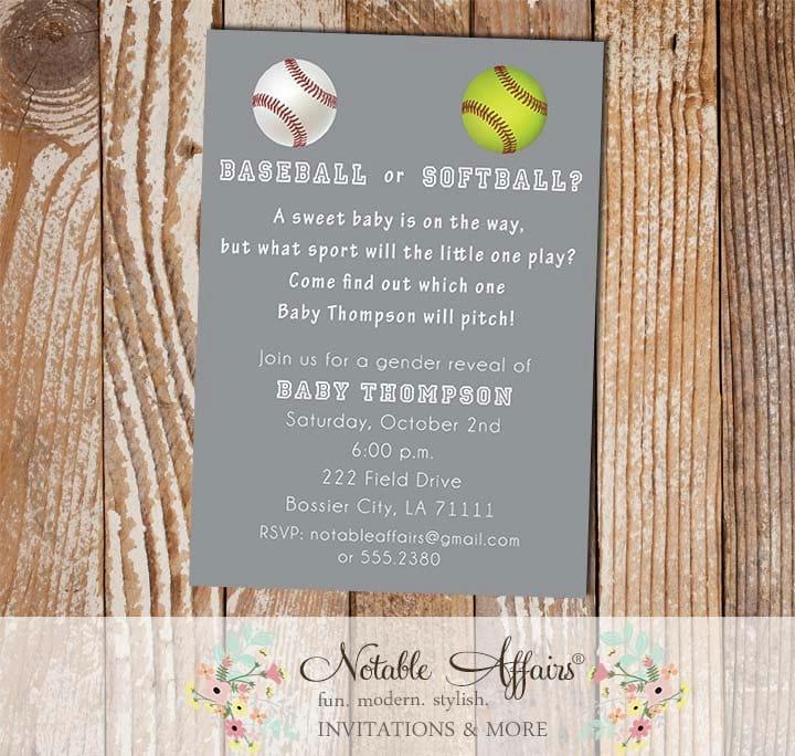 Baseball or softball baby shower gender reveal party zoom stopboris Choice Image