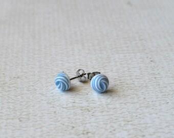 Titanium Earrings- Blue and White Swirl Earring Posts- Vintage Titanium Studs- Light Blue Earrings- Small Studs- Great For Sensitive Ears