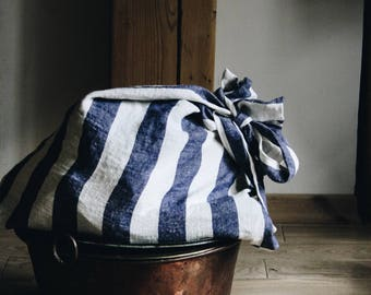Navy Blue Wide Striped Linen Laundry Bag / Natural linen / Laundry Bag