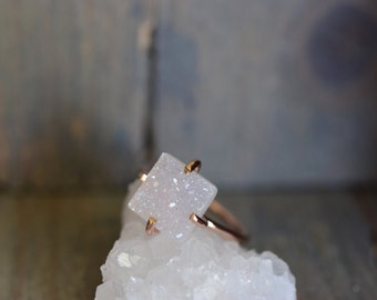 White Druzy Ring. Rose Gold Fill Delicate Ring. White Glitter Iridescent Stone. Square Druzy Rose Gold Ring. Simple Delicate Stackable Stone