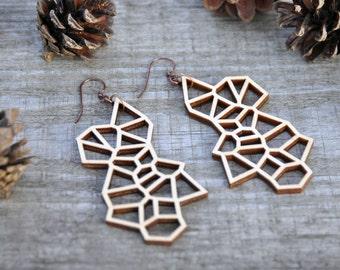 Irregular Laser Cut Wood Earrings