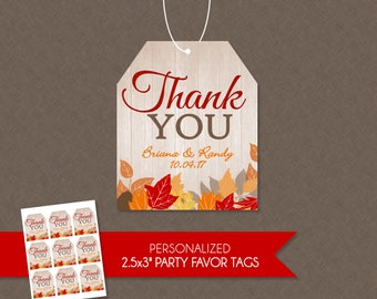 Fall Bridal Shower or Wedding Personalized Thank You Favor Tags - Fall In Love , Fall Bridal , Fall Wedding , Fall Favor Tags , Fall Leaves